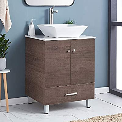 "Mogiyin Modern 24"" Brown Finished Stand Bathroom Vanity, Bathroom Sink Cabinet Vanities Combo Set with White Integrated Ceramic Countertop Vessel Sink"