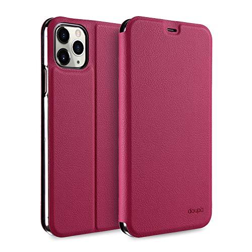 doupi Flip Hülle für iPhone 11 Pro (5,8 Zoll), Deluxe Schutz Hülle mit Magnetischem Verschluss Cover Klapphülle Book Style Handyhülle Aufstellbar Ständer, rot pink