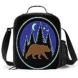 Delerain Forest Bear - Fiambrera aislada con asa y correa para el hombro, bolsa de picnic para niños, niñas, niños, preescolar, oficina, picnic