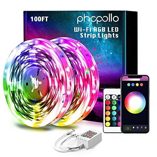 PHOPOLLO Smart WiFi 100ft Led Lights for Bedroom Sync with Music, Led Strip Lights Compatible with Alexa and Google Home
