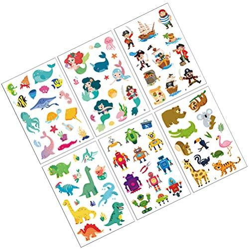PRETYZOOM 6 Hojas de Los Niños DIY Etiqueta Adhesiva Pegatinas de Dibujos Animados para Manualidades DIY Scrapbook de Embalaje de Regalo (Color Mixto)