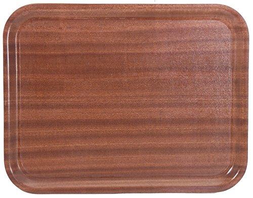 Kantinentablett, rutschfest, aus Melaminbeschichtetem 3 mm-Pressholz, Mahagoni-Optik, säureresistent | ERK (A2 - 60 x 45 x 1,8 cm)