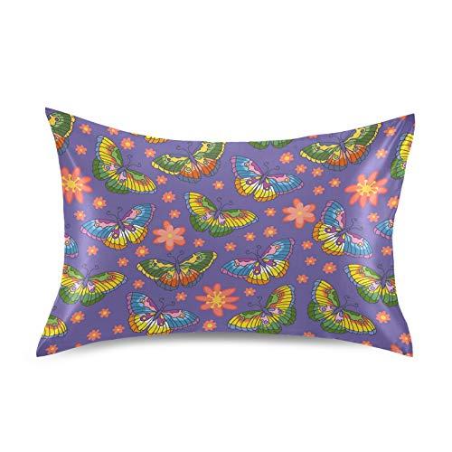 HaJie Funda de almohada de satén con flores y mariposas, 100% poliéster, funda de almohada para cabello y piel, tamaño Queen 50,8 x 76,2 cm, 1 unidad