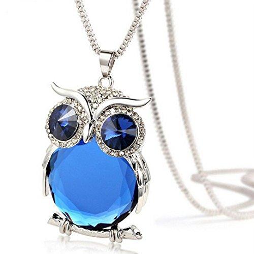 TOPUNDER 2018 Women Owl Pendant Diamond Sweater Chain Long Necklace Jewelry