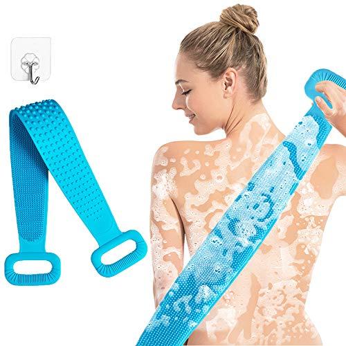 Silikon Rückenschrubber für Bad, Extra Langer Rückenbürste Dusche, Peeling Körper Duschbürste gegen Pickel und Cellulite, tief sauber, langlebig und superweich für Frauen Herren