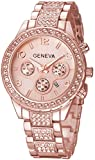 Unisex Luxury Pave Floating Crystal Diamonds Calendar Quartz Watch with Stainless Steel Link Bracelet (A Rose)