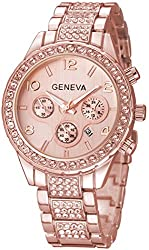 A-Rose Crystal Diamonds Calendar Quartz Watch with Stainless Steel Link Bracelet