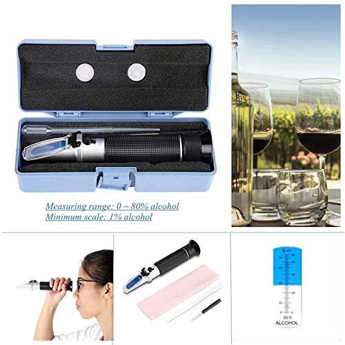 Refractometer alcoholmes, alcohol 0-80% refractometer professionele optische hand-alcohol-suikertester voor bier, gedestilleerde drank, rijstwijn en wijn