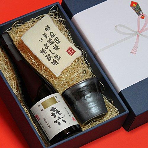 喜寿祝い熨斗+ギフト箱+ラッピングセット 陶器 焼酎 グラス + 芋焼酎 きろく 720ml ( 百年の孤独の蔵黒木本店 )