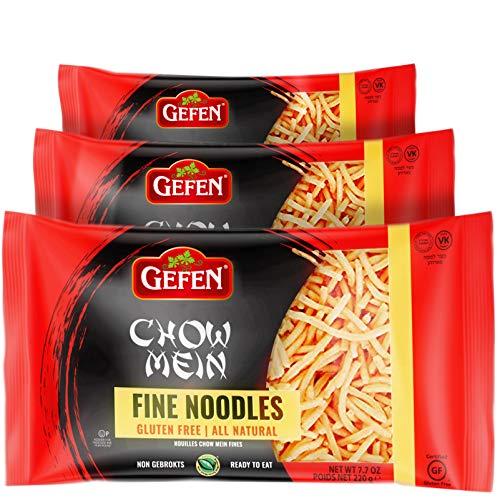 Gefen Gluten Free Chow Mein Fine Noodles, 8oz (3 Pack) Ready To Eat, All Natural, Thin & Crisp