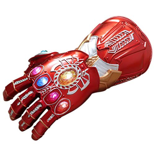 HOOLAZA Cosplay Iron Man Handschuh aus rotem PVC mit 6 LED-Licht Halloween Party Requisiten Infinity Gauntlet Handschuh für Kinder
