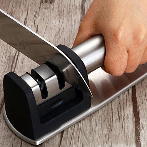 ToiM Profi-Messerschärfer für gerade und gezackte Messer, 2/3 Stufen, Edelstahl-Keramik-Wetzstein, beschichtetes Schleifscheibensystem, 20cm ABS + Tungsten carbide + Ceramic