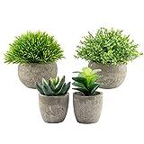 GDORUN Künstlichen grünen Gras Pflanzen in grauen Töpfen 4 Pack, kleine dekorative Faux Plastik Pflanzen, ideal für Heim Büro Bad Küche und Outdoor Dekoration