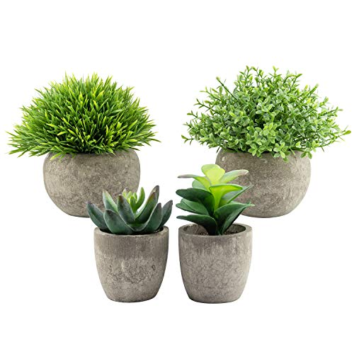 Künstliche Mini-Pflanzen im Topf, Eukalyptus-Kunstpflanzen, für Zuhause, Garten, Büro, Schreibtisch, Dusche, Raumdekoration, 4 Stück
