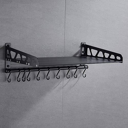 RSWLY Soporte de cocina de montaje en pared multifunción 40 * 35.4 * 17.2cm negro (Size : 40cm)