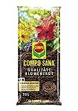 COMPO SANA Qualitäts-Blumenerde mit 12 Wochen Dünger für alle Zimmer-, Balkon- und Gartenpflanzen, Kultursubstrat, 70 Liter, Braun