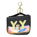 YSoutstripdu Damen Geldbörse mit Y-Y-Buchstaben Bedruckt, quadratische Schnalle, Geldbörse mit Schlüsselanhänger, Schwarz