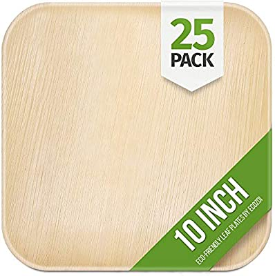 """Ecozoi EXTRA LARGE Disposable Palm Leaf Plates 10"""" Square, 25 Pack Eco-Friendly Dinnerware Set, Biodegradable Compostable Preimum Quality Tableware Dinner Plates for Weddings, Parties, Events, Camping"""
