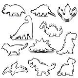 HONGECB Cortadores Galletas Dinosaurio, Set de Molde para Galletas de Acero Inoxidable, Accesorio de Cocina Hornear, para Decoraciones de Postres de Pastelería, 11 Piezas