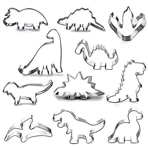 HONGECB Set Formine Biscotti Dinosauro, Tagliabiscotti Dinosauri, Cookie Cutter in Acciaio Inossidabile, per Bambini Compleanno Festa Tema Decorazioni Fai da Te Cottura, 11 Pezzi