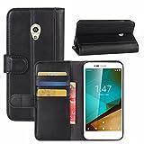 Funda Vodafone Smart Prime 7, HualuBro [Protección Todo Alrededor] Genuine Cuero Leather Billetera Wallet Carcasa Case Flip Cover para Vodafone Smart Prime 7 Smartphone (Negro)