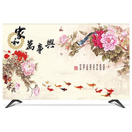 catch-L TV LCD Cubierta De Polvo Toalla Plana Curva Clasico Estilo Chino Cubierta Antipolvo (Color : Peony, Size : 22inch)