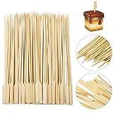 REYOK Pinchos de Bambú, 200 Piezas de brochetas de Paleta de bambú Palitos de cóctel,Brochetas de Madera para Parrilla y Aperitivos, Barbacoa BBQ, Kebabs, Hamburguesas, buffets Party - 15 cm