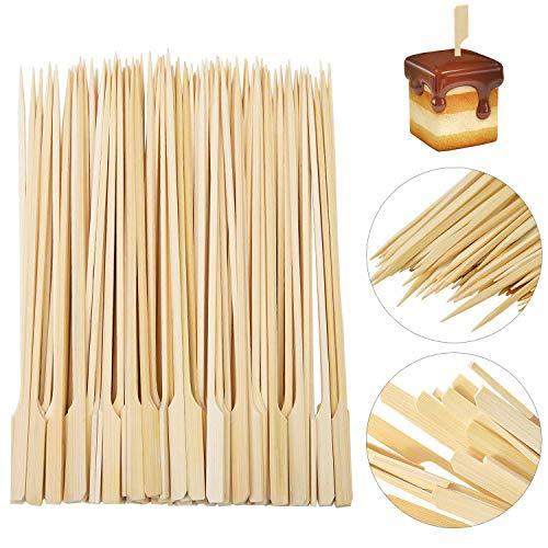 REYOK Pinchos de Bambú, 200 Piezas de brochetas de Paleta de bambú Palitos de cóctel,Brochetas de Madera para Parrilla y Aperitivos, Barbacoa BBQ, Kebabs, Hamburguesas, buffets Party - 20 cm