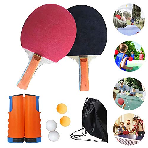 Great Deal! FXQIN Table Tennis Set Net for Dining Table, Table Ping Pong Set with Retractable Net, I...