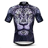 Ciclismo Jersey Mens Tops Racing Ciclismo Ropa Manga Corta Bicicleta Camisa, 1 León Negro, X-Large
