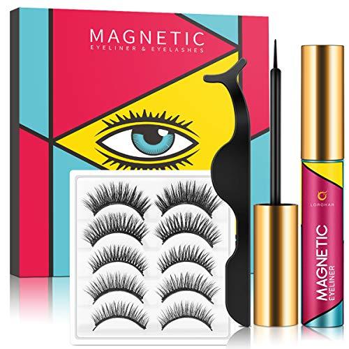 Magnetische Wimpern Magnetischer Eyeliner Set, Wasserdichtem Langlebigem Magnetische Eyeliner, Wiederverwendbare Künstliche Magnet Wimpern, Falsche Wimpern Natürlich...