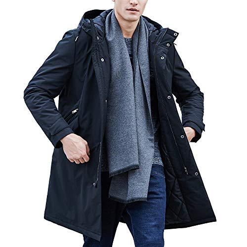 Pioneer Camp Men's Jackets Waterproof Windproof Outdoor Black Hooded Warm Long Parka Coats for Early Spring Fall Winter (Black, XL)