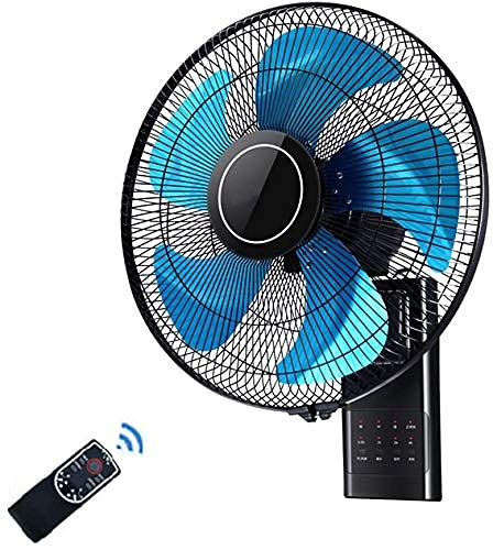 Ventilador de pared con mando a distancia, oscilante, silencioso, de 18 pulgadas, ideal para hogar/oficina, hoja azul