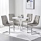 Modern Dining Table And Chairs Set Of 4, MDF Wooden Table, Dining Chairs Of Fabric Cover, Sturdy Cantilever Chrome Metal Leg, Compact 4 Seater Furniture Set Counter Office