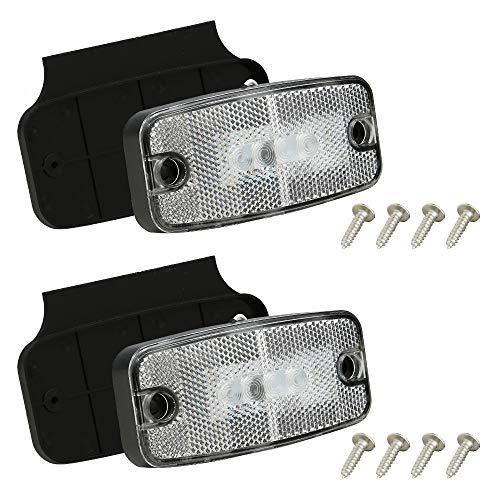 Hawkeye Piloto LED posición lateral,2 Luces de Posición Laterales de Remolque Blancas, Indicadores LED de Luz de Posición Trasera de Camión Frontal LÁMpara De Contorno Para Remolque Camión