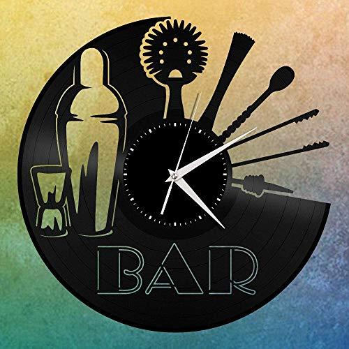 kkkjjj Camarero Beige Vinilo Reloj de Pared Registro Amigo habitación decoración para el hogar diseño Retro Oficina Bar Bar decoración para el hogar