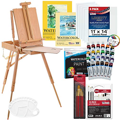 U.S. Art Supply 57-Piece Watercolor Painting Kit with French Easel, Watercolor Paint, 11'x14' Canvas Panels, 11'x14' and 9'x12' Watercolor Paper, Nylon Paint Brushes, Multipurpose Paint Brushes