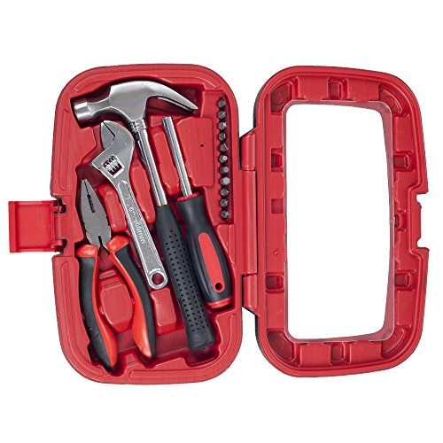 Stalwart - 75-HT015 Household Hand Tools, Tool Set - 15 Piece by , Set Includes – Hammer, Wrench, Screwdriver, Pliers (Tool Kit for the Home, Office, or Car) Red