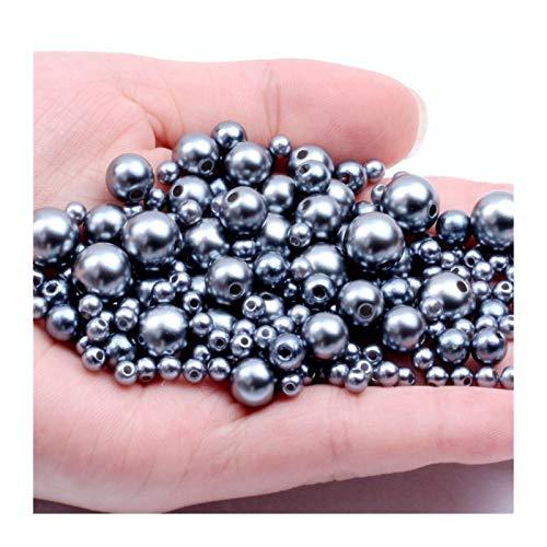 RWEAONT 3-12 mm Agujeros Rectos imitación Redondo Perla de Perlas de plástico para Accesorios de joyería Cuentas y joyería (Size : 12mm 580pcs)
