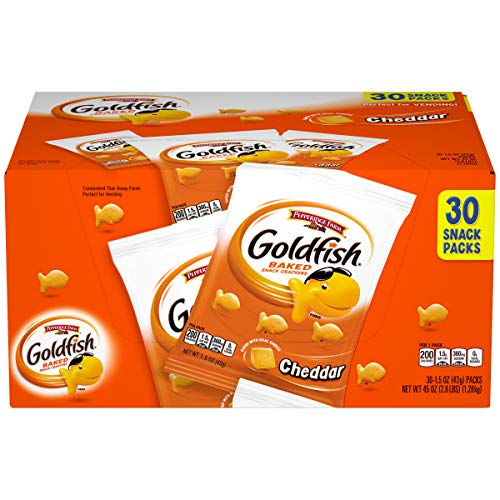 Pepperidge Farm Goldfish Cheddar Crackers, 30-count Multi-pack Box, 1.5 oz. Snack Packs