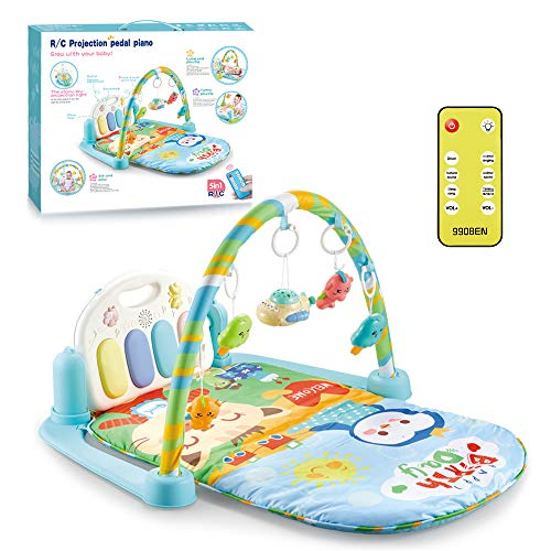 Baby Play Mat, 4 in 1 Baby Gym & Play Piano Gym, Remote Control Musical Toy, Tummy Time Mat, Sensory Toys, Early Learning for Toddler