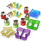 Sandwich Cutters for Kids with Cute Food Picks, 20 pc. Set, Animal Cutouts for Cookies, PBJ Sandwiches, Vegetables, Fruit, and Bento Box Lunches, Mini and Reusable