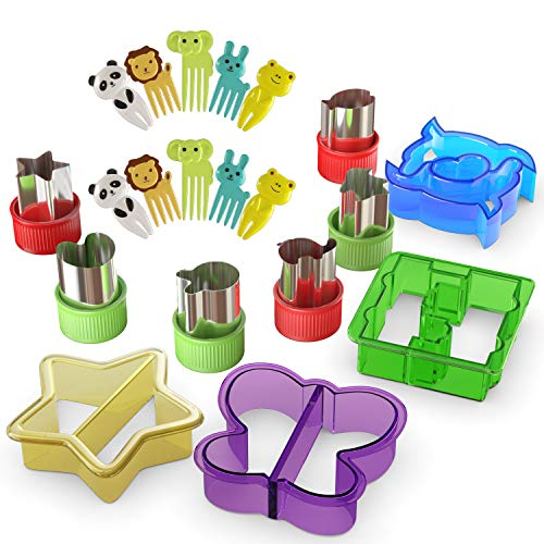 Sandwich Cutters for Kids - 20 pcs/set - Mini Cookie Cutters Shapes - Vegetable and Fruit Cutters with Food Picks for Kids