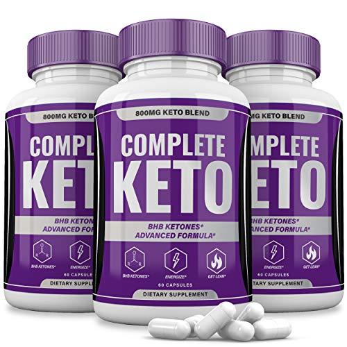 (3 Pack) Complete Keto Pills 800mg, Keto Complete Diet Pills Capsules BHB Supplement, Complete Ketogenic Diet for Beginners, BHB Ketones Slim Pills for Energy, Focus - Exogenous Ketones for Men Women