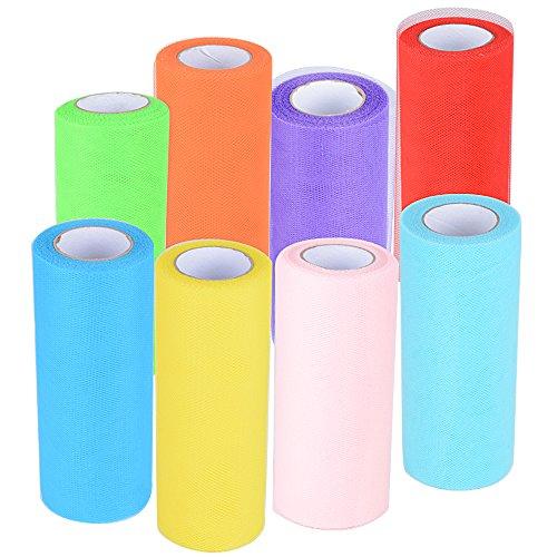 182m 8 Rollos de Tul Tulle Colores Decoración de Boda Falda