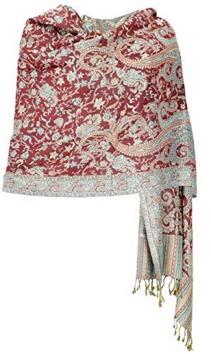 Guru-Shop Indischer Pashmina Schal, Schultertuch, Stola mit Paisley Muster, Herren/Damen, Rostorot, Synthetisch, Size:One Size, 200x70 cm, Schals Alternative Bekleidung
