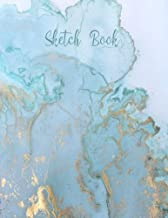 Sketch Book: Practice Drawing, Paint, Write, Doodle, 8.5 x 11 Large Blank Pages: Notes, Sketching Pad , Creative Diary And Journal ( Beautiful Blue&Gold Marble Cover )