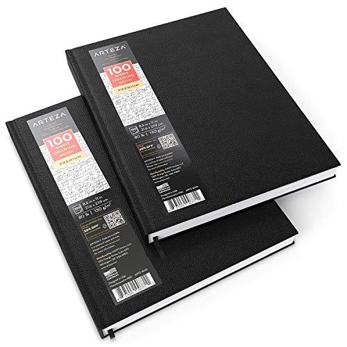 ARTEZA Cuadernos de dibujo de tapa dura | Pack de 2 | 100 hojas por cuaderno | Tamaño 21,6 x 27, 9 cm | Papel grueso de 130 gsm