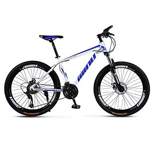 MW Bicicleta De Montaña, Camino De La Bicicleta, Hard Tail Bicicleta, 26 Pulgadas De Bicicletas, Bicicletas De Acero Al Carbono para Adultos Estudiante, 21/24/27/30 Speed Bike,White Blue,24 Speed