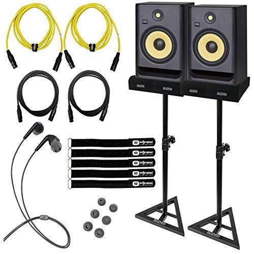 "(2) KRK Rokit G4 8"" Monitors with Mee Earphones & Yellow Cables"